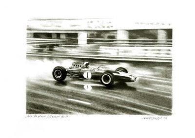 Jack Brabham. Brabham BT11. Lápiz sobre cartulina. Daniel Sonzini