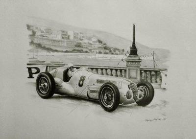 Mercedes W125. Rudolph Caracciola. Mónaco 1935. Lápiz sobre cartulina. Daniel Sonzini