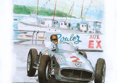 Mercedes, Fangio. Monaco. Acuarela sobre canson. Daniel Sonzini