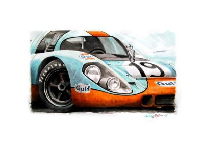 Porsche 917. Acuarela. Daniel Sonzini