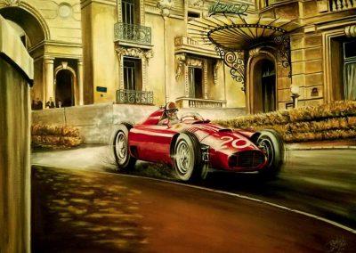 Pinturas al Oleo del Automovilismo - Daniel Sonzini. Ferrari/Lancia D50. Juan Manuel Fangio en Mirabeau. Gp de Monaco 1956.