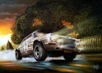 """""""Iluminado por la Gloria"""" Conmemoración de los 50 años del Torino en Nürburgring. Acrílico sobre tela. 90x60 cm."""