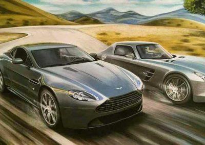 Aston Martin y Mercedes. Acrílico sobre lienzo. Daniel Sonzini