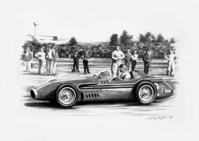 Maserati. Juan Manuel Fangio. Lápiz sobre cartulina. Daniel Sonzini