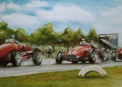 Monza. 1953. Ascari /Ferrari, Fangio / Maserati y Farina / Ferrari. Óleo sobre tela. 100x40 cm