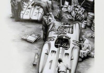 Mercedes Benz W196 Carenado. Lápiz sobre cartulina. Daniel Sonzini