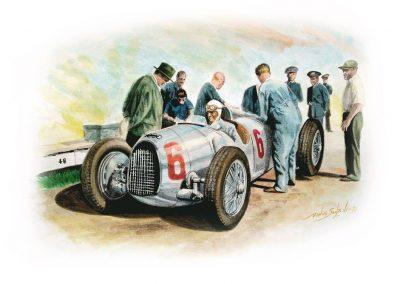 Auto Union. Achille Varzi, España 1935. Circuito de Lazarte en San Sebastián. Acuarela. 42x30 cm