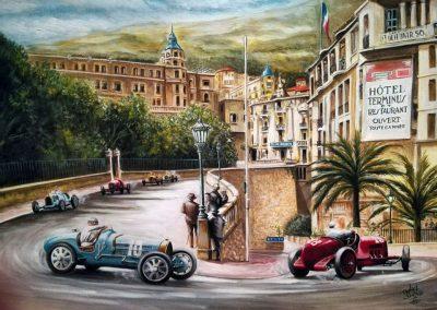 Achille Varzi / Bugatti. Tazio Nuvolari / Alfa Romeo. Mónaco 1933. Oleo sobre lienzo. 70x50 cm