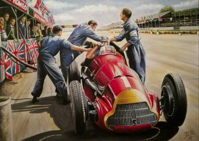 Alfa Romero 159. Juan Manuel Fangio. Silverstone 1950. Óleo. 80x60 cm