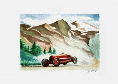 Alfa Romeo 8c 2300 Monza. 1933. Acuarela. 42 x 30 cm