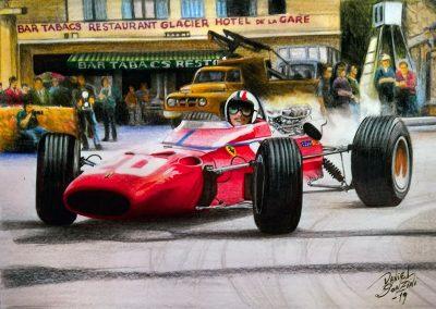 Chris Amón Ferrari 312 GP de Montecarlo 1967. Lápices y marcadores. Daniel Sonzini