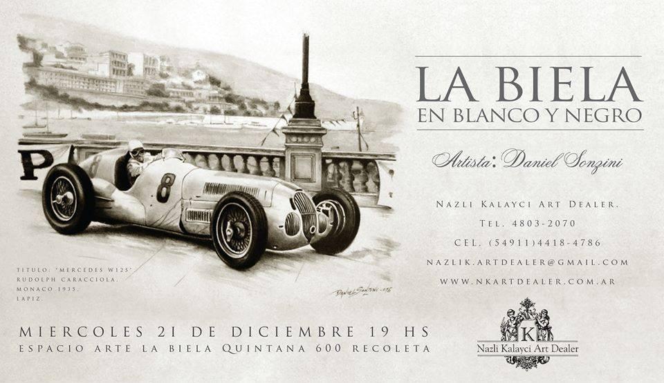 Mercedes W125. Obra en lápiz de Daniel Sonzini - pintor de automovilismo