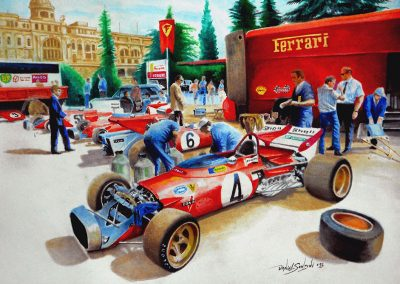 Equipo Ferrari. Paddock, Montjuïc 1971. Acuarela. 42x30 cm