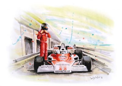 James Hunt. McLaren Acuarela. 42x30 cm