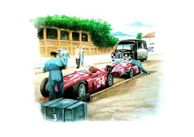 Lancias D50 de Ascari y Villoresi en Pedralbes 1954. Acuarela. 42x30 cm