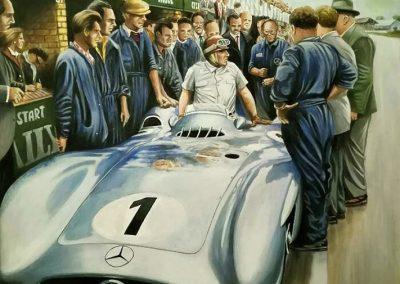 Mercedes Benz W196 Juan Manuel Fangio. British GP 1954. Oleo sobre tela. 60x80 cm