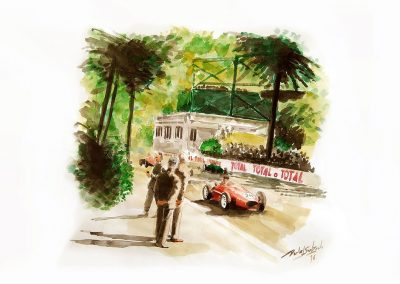 Monaco, 1958. Ferrari Luigi Musso. Acuarela. 42x30 cm