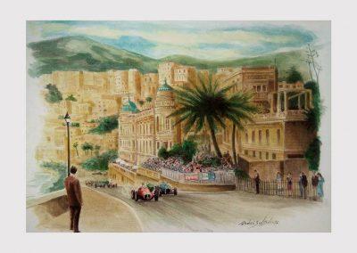 Monaco. Le Beau Rivage Acuarela sobre cartón montado. Daniel Sonzini