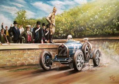 Bugatti Type 35B. Louis Wagner Targa Florio 1929.  Oleo sobre lienzo. Medida: 70x50 cm
