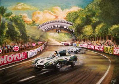 Jaguar D Type - Hawthorn. Mecedes Benz 300 - Fangio. Le Mans Dunlop Bridge 1955. Oleo 90x60 cm