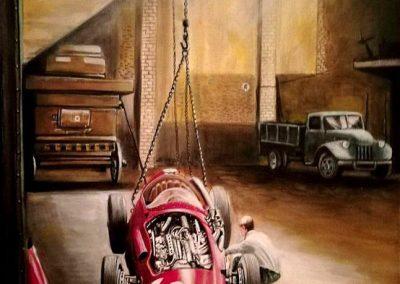 Maserati 250F Luigi Piotti 1957. Óleo sobre tela. 40x60 cm