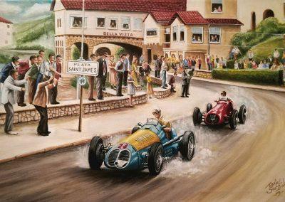 Maserati 4CLT 1500. Fangio. GP Mar del Plata Circuito del Torreón 27 de Febrero de 1949. Óleo sobre tela. 70x50 cm