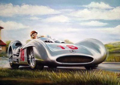 Mercedes-Benz W196r Silver Arrow, Juan Manuel Fangio. GP de Francia 1954. Oleo sobre lienzo. 60x40 cm