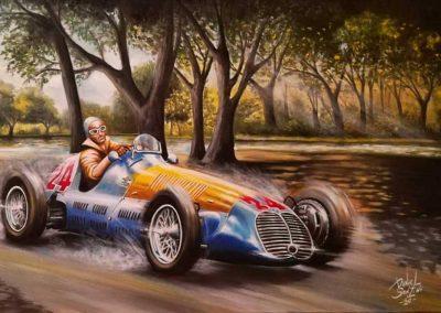 Maserati 4clt/48. Juan Manuel Fangio. Óleo. 90x50 cm